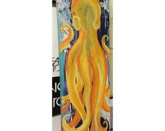 "Original Acrylic Painted Octopus 36""x12"""