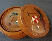 Wood Coasters with Round Box - Vintage California!