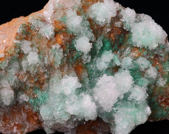 Beautiful Green Brochantite Crystals Covered by Clear Crystals Of Gypsum On Dolomite Matrix