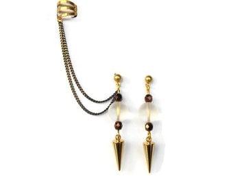Spike ear cuff earrings, Rock Crystal earrings, Dangle drop earrings