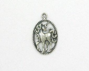 Sterling Silver 25mm Unicorn Pendant - ff50