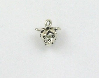 Sterling Silver 3-D Strawberry Charm
