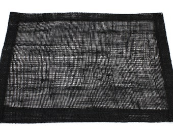 """Black 13""""x17"""" Burlap Placemat Set of 6  Looks great on a dinner table and banquet tables for special events. (BH-P20)"""
