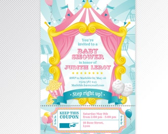 Pink carnival / circus baby shower printable invitation
