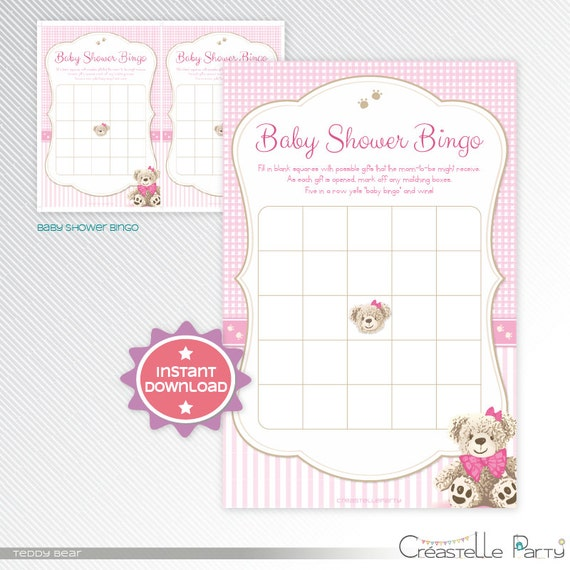 Pink Teddy Bear Baby Shower: Pink Teddy Bear Bingo Baby Shower Game By CreastelleParty