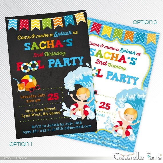 Red And Blue Pool Party Invitation Birthday Pool Party Invite