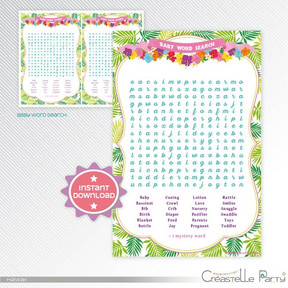 Hawaiian Luau Word Search Baby Shower By Creastelleparty