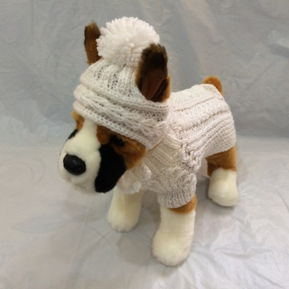 Knitting Patterns For Xxs Dogs : Pet Clothes for Dog Outfit Sweater and Hat Handmade Knit XXS