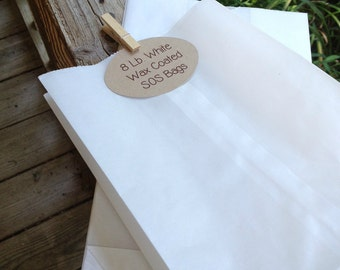 """8 lb. Wax Coated White Paper SOS Bag - 6-1/8"""" x 4"""" x 12-3/8""""  - FDA Approved - Bakery Bags • Pastry Bag • Cookies • Donuts  • Food Safe"""