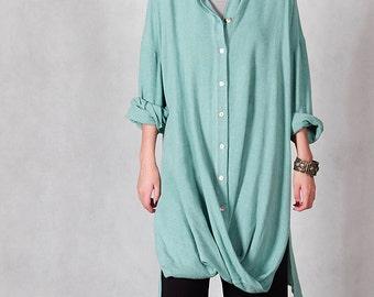 Women linen Shirt - Long Shirt spring/fall - Long sleeves shirt - Casual shirt - Made to order