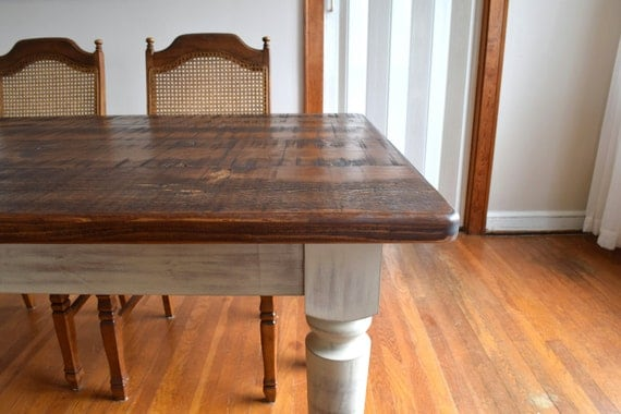Distressed rustic pine dining table shabby by for Rustic shabby chic dining table