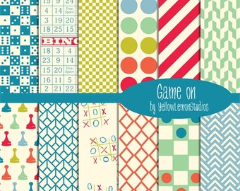 """Family game night """"GAME ON"""" vintage colors, blue, green, red, orange, bingo, checkers, tic tac toe, twister, stripes, checker board, sorry"""