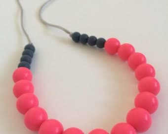 Silicone Teething Necklace / Silicone Nursing Necklace - Neon Pink & Grey