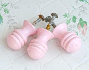 Little Pink Knobs - Vintage Drawer Pull or Handles - Set of 3