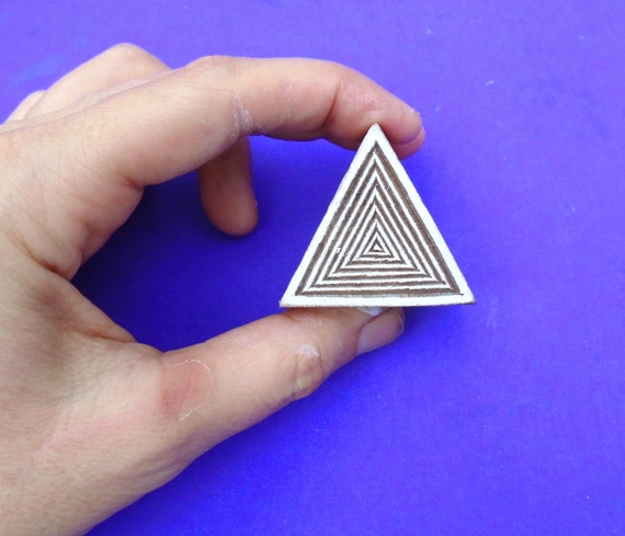 Triangle geometric wood stamp hand carved fabric textile