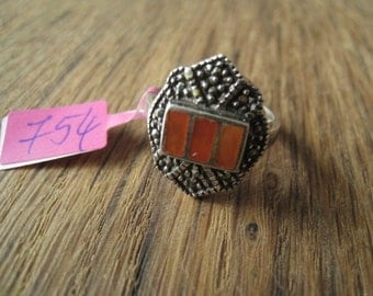 Sterling Silver Orange Red Carnelian And Marcasite Ring Size 7.5 (754)