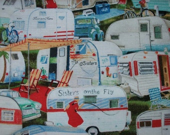 Vintage Campers and Trailers,  Novelty Print by Elizabeth's Studio Sold by the Yard/ designers choice