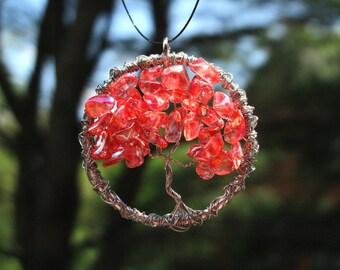 Cherry Red Tree of Life, July Birthstone