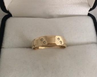 14K Gold Four Diamonds Designer Ring Band Hallmark Stylecrest