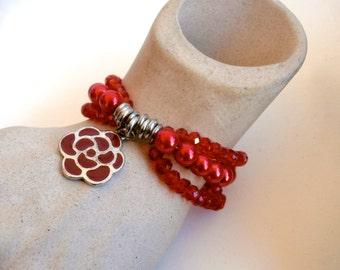 Red Beaded Bracelet - Repurposed Jewelry - Multi Strand - Red Bracelet
