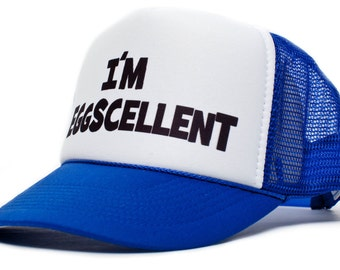 I'm Eggscellent Hat Cap Eggcelent Excellent Royal/White Curved