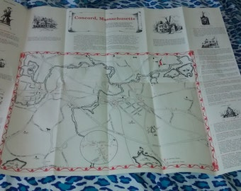 Concord, Massachusetts, Fold out map of 1991, with attractions, shopping, etc, great shape