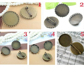 5PCS  Pin brooch base - antique bronzed round edged bezel cup cabochon settings