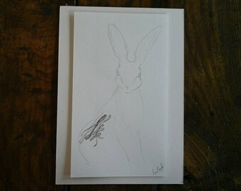 small original pencil drawing, Celtic Hare