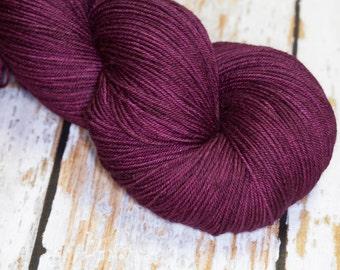 Hand Dyed KM Fingering Sock Yarn Superwash Merino Wool Nylon in Deep Wine