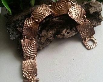 Rose bronze metal clay bracelet
