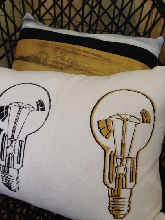 White, Black & Gold Metallic Retro Lightbulb Cushion