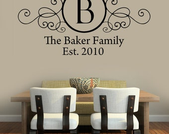 Family Monogram Wall Decal Wrought Iron Style Decal Vinyl Wall Decal
