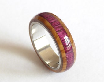 Olive & amaranto wood  steel ring