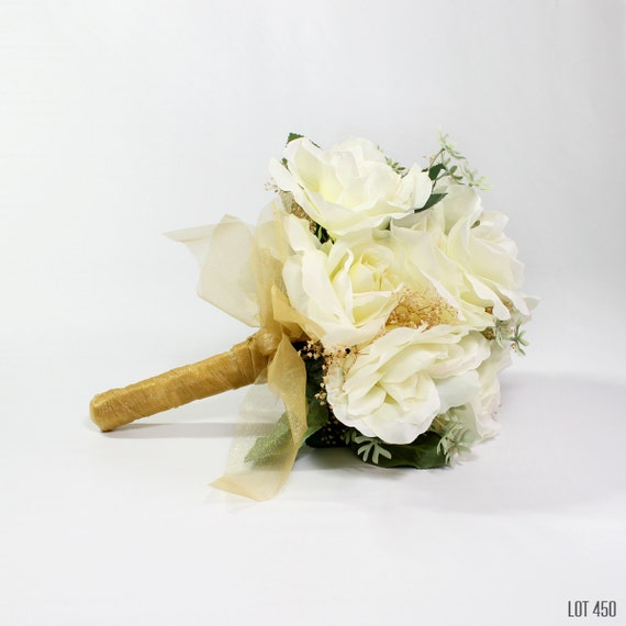 White And Gold Wedding Flowers: Bride Bouquet Silk Flowers Wedding Gold And White Bridal