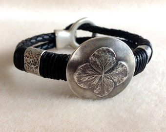 Lucky Clover or Blossom Silver and Leather Bracelet