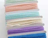 Baby Pom Pom Trim- 3 yards choose your color: aqua, pink, ivory, white, yellow