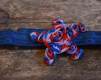 Shabby Star; 4th Of July Headband; patriotic headband