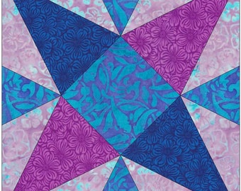 Priscilla Variation Star Stripes Paper Piece Template Quilting Block Pattern PDF