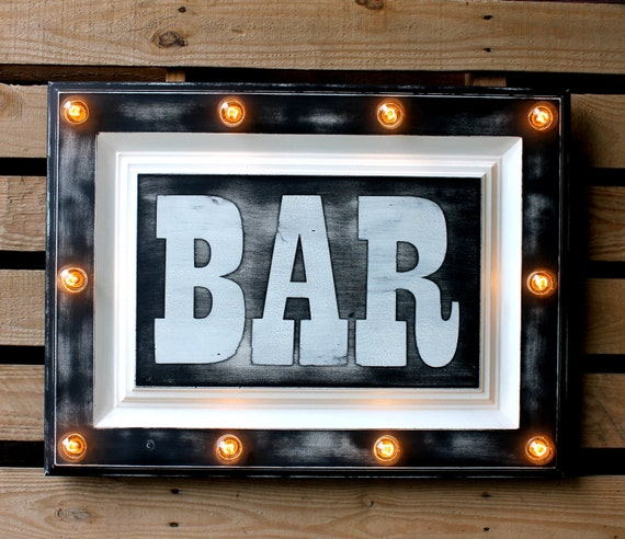 Man Cave Signs That Light Up : Items similar to bar marquee sign light up kitchen