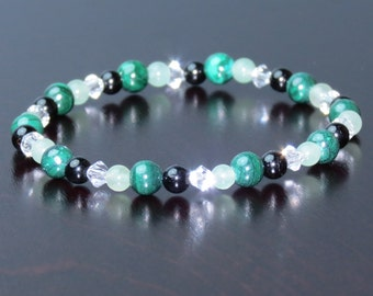 Travel Bracelet for Motion Sickness, Anxiety,Nausea,Worry,Fear, Gives Protection and Emotional Calm with Aventurine, Tourmaline & Malachite!