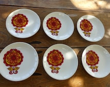 6 small plates orange, design flowers original vintage 1970 KG LUNEVILLE FRANCE