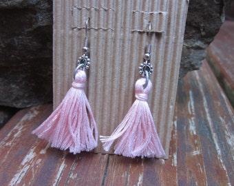 tassel earrings Shabby chic boho earrings light pink turquoise blue cotton tassel yoga earrings long dangle drop tassel  earrings