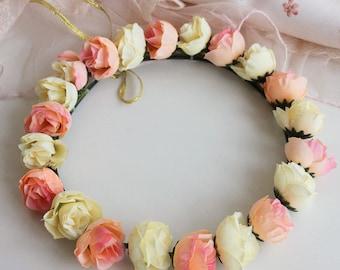 baby pink ivory flowers Wedding Accessories Flower Crown Bridal Flower hair wreath Flower girl Halo flowers hair wreath
