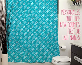 Mrs and Mrs Personalized Shower Curtain. 14 Colors Avail. Customized Wedding Gift, Bride, Same-Sex Marriage, Newlywed, Housewarming, LGBT
