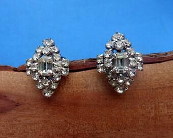 Vintage Rhinestone Wedding Clip On Earrings