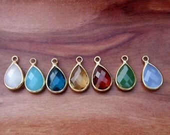 Large Bezel-set Briolette Stones, Framed Faceted Teardrop Drop Pendants Gemstones Crystal QTY 7!