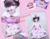 BJD SD 1/3 Kawaii Monkey & cupcakes dress and bow set