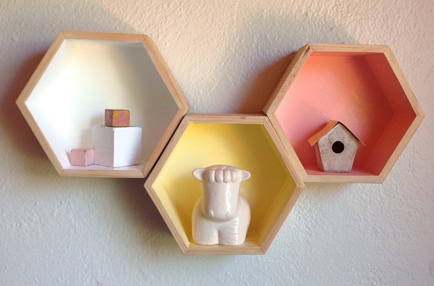 Three Hexagon Shelves Hexagon Shelf Honeycomb Shelves