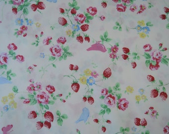 "Fat Quarter of Roses Strawberries Birdie Fabric on Off White Background.  Approx. 18"" x 22""   Made in Japan"