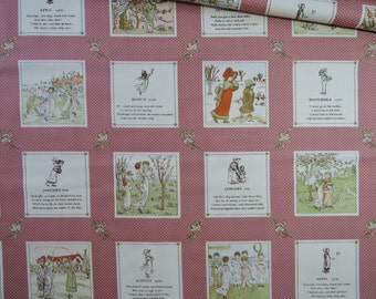 "Last  Panel of Lecien Kate Greenaway Fabric In Pink. Made in Japan Approx. 23"" x 44"""